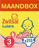 Zwitsal Midi Maat 3 Luiers - 213 stuks - Voordeelverpakking