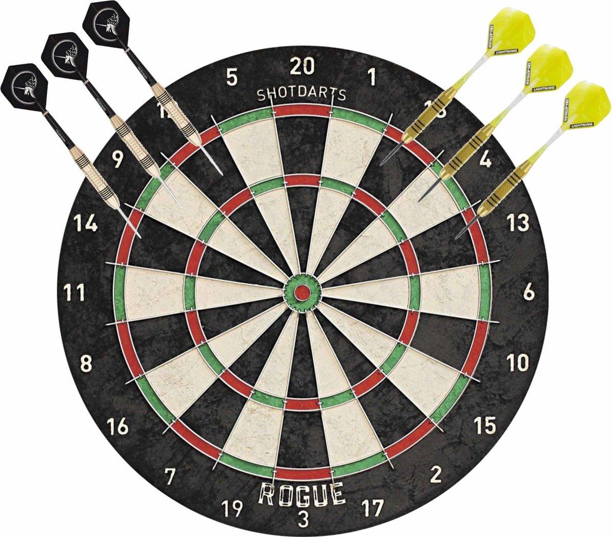 Professioneel dartbord Rogue Bristle incl 2 sets dartpijlen 23 grams - Sportief spelen - Darten/darts - Dartborden voor kinderen en volwassenen.