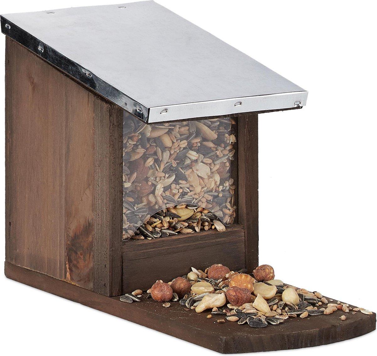 relaxdays eekhoorn voederhuisje - metalen dak - hout - voederhuis - voederkast dark Brown