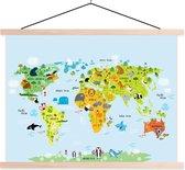 TextilePosters - Wereldkaart voor Kinderen - Dieren schoolplaat - 60x45 cm