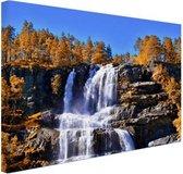 Waterval in Noorwegen Canvas 30x20 cm - klein - Foto print op Canvas schilderij (Wanddecoratie woonkamer / slaapkamer)