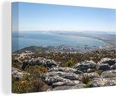 Uitzicht op de kustlijn van het Afrikaanse Robbeneiland Zuid-Afrika Canvas 180x120 cm - Foto print op Canvas schilderij (Wanddecoratie woonkamer / slaapkamer) XXL / Groot formaat!