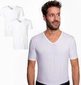 SKOT Fashion Duurzaam t-shirt heren regular V-neck White 2-pack - Wit - Maat L