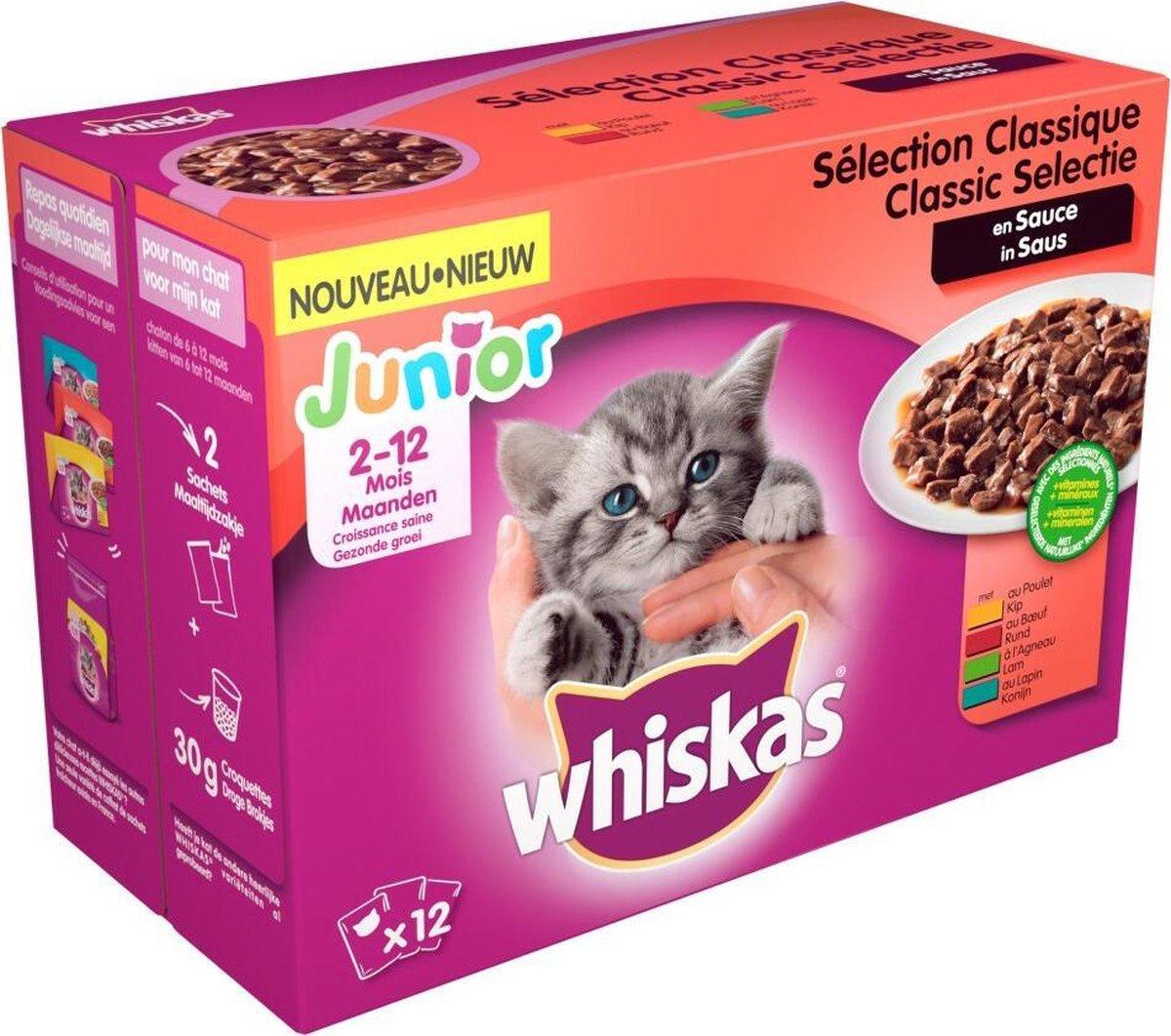 Whiskas Junior Kitten Maaltijdzakjes - Vleesselectie in Saus - Kitttenvoer - 48 x 100 g