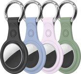 4-Pack Apple Airtag-sleutelhanger - Siliconen AirTag hanger - AirTag Hoesje - Zwart/Blauw/Groen/Roze