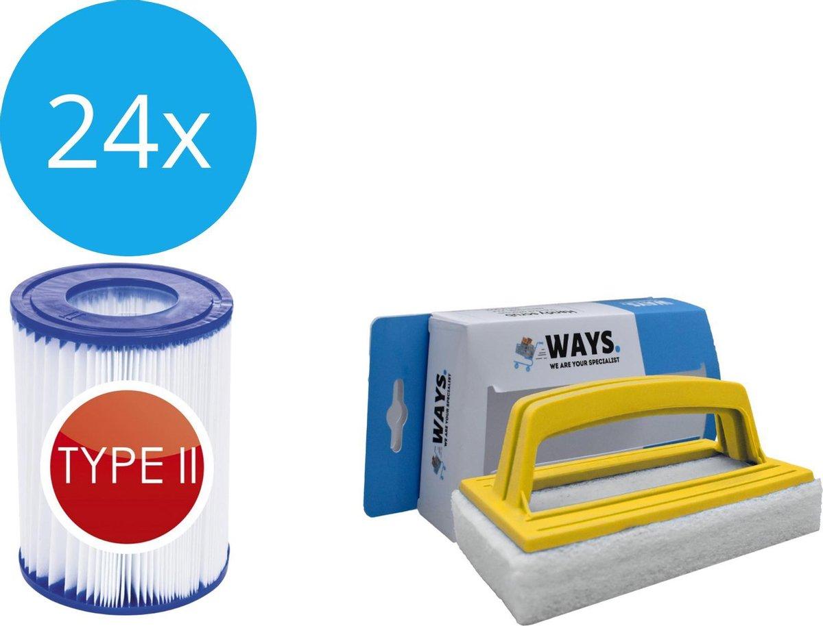 Bestway - Type II filters geschikt voor filterpomp 58383 - 24 stuks & WAYS scrubborstel
