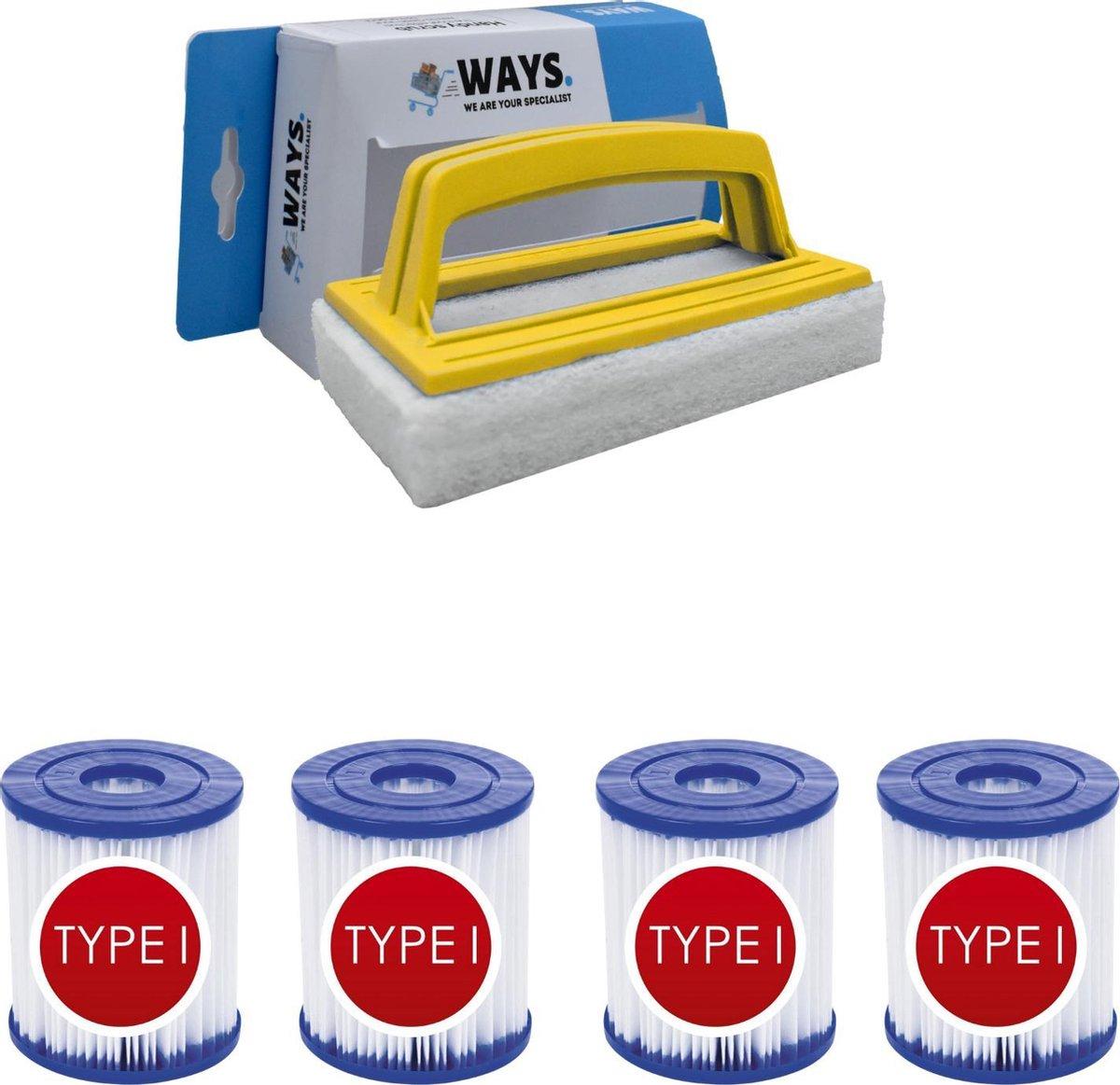 Bestway - Type I filters geschikt voor filterpomp 58381 - 4 stuks & WAYS scrubborstel