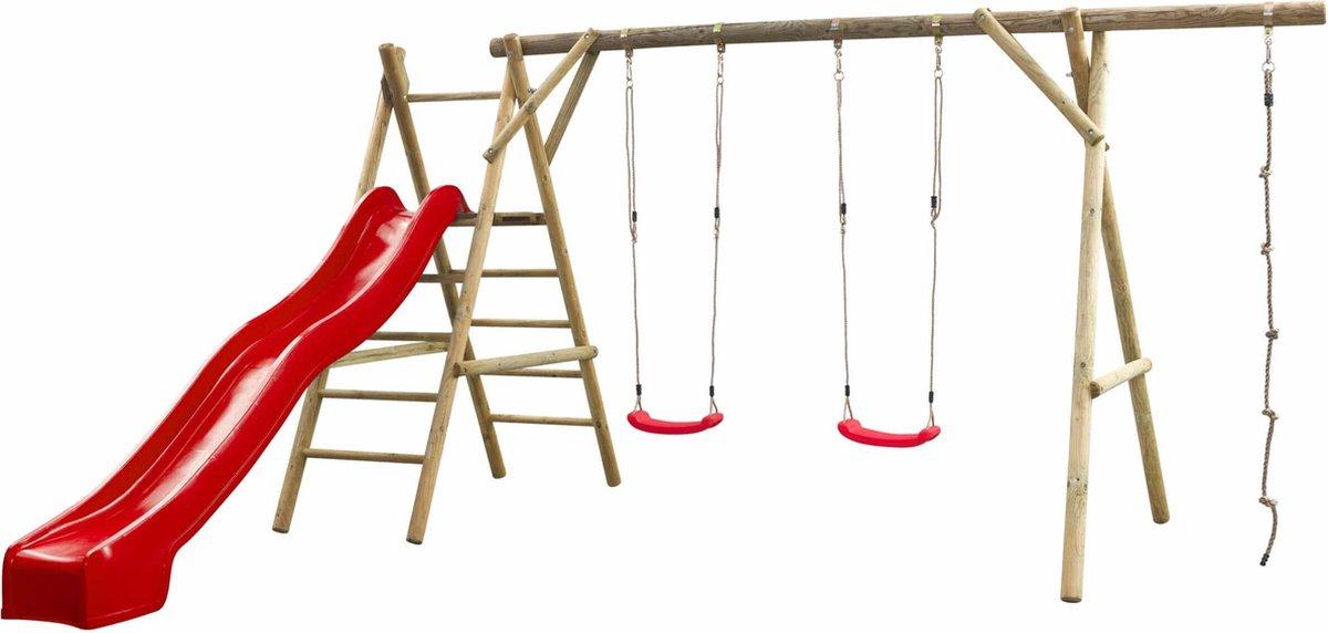 Swing King speeltoestel hout met glijbaan Noortje 450cm - rood