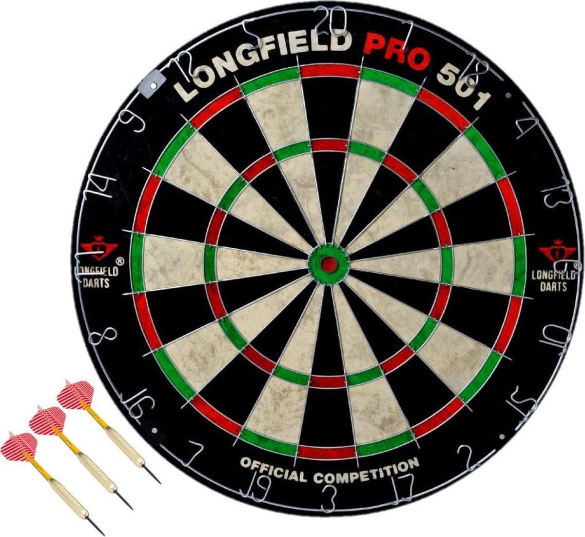 Dartbord set compleet van diameter 45.5 cm met 3x dartpijlen van 25 gram - Longfield professional - Darten