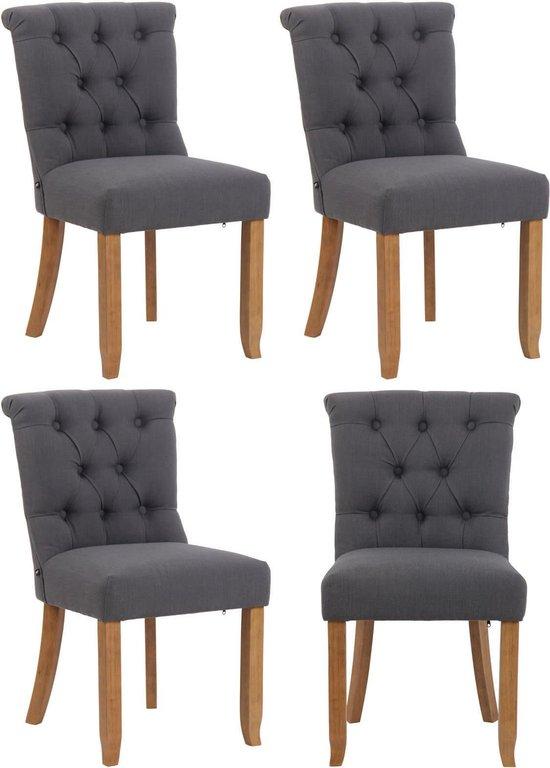 Clp Alberton Set van 4 stoelen - Stof - Donkergrijs - Antiek Licht