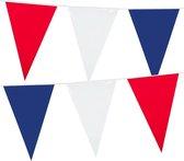 Holland rood wit blauw plastic vlaggetjes/vlaggenlijnen van 10 meter. Koningsdag/supporters feestartikelen