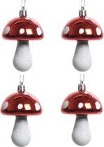 6x Kerstboomhangers rode paddenstoelen 7 cm kerstversiering - Rode kerstversiering/boomversiering