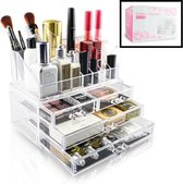 Decopatent® XL Make up Organizer met 16 Vakken & 4 Lades - Makeup Organizer Transparant - Sieraden Make-up - Cosmetica Opbergdoos
