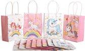 Decopatent® 12 STUKS MIX Unicorns Eenhoorn Traktatie Uitdeel papieren zakjes met handvat - Traktaitezakjes voor uitdeelcadeautjes