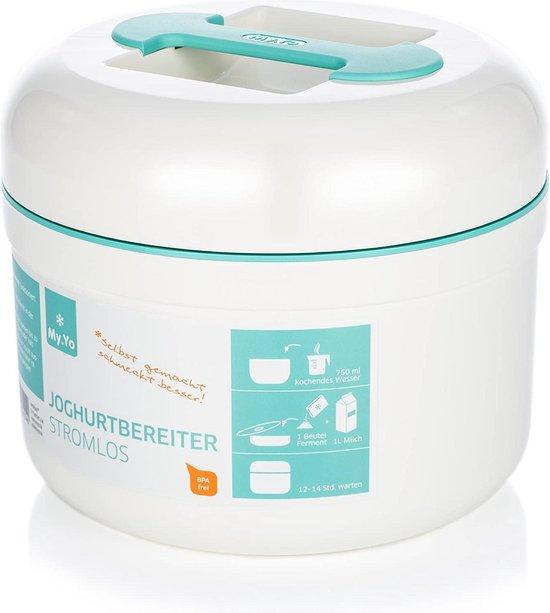 Zero Waste Duurzame Yoghurtmaker - BPA Vrij - Niet Elektrisch Yoghurt - Yoghurtstarter - Whey Protein - Vegan- Lactosevrij - 1L- 21x21x20cm - 800 gram - Wit