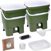 Skaza Bokashi Organko keukencompostbak van gerecycled plastic | 2x 16 L | Starter Set voor keukenafval en compostering | met EM zemelen 1 kg | Olijfgroen