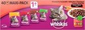 Whiskas 1+ Adult Voordeelpak Maaltijdzakjes - Classic in Saus - Kattenvoer - 40 x 100 g