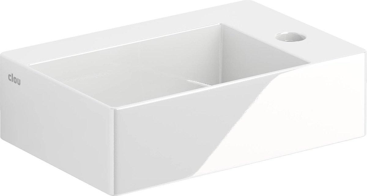 Fontein Clou New Flush 2 Rechthoek 35.5x24.5x10cm Keramiek Glans Wit 1 Kraangat Met Afvoerplug