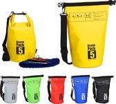 relaxdays Ocean Pack 5 liter - waterdichte tas - droogtas - outdoor plunjezak - zeilen geel