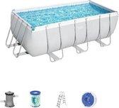 Bestway zwembad power steel set rechthoek 412 x 201 x 122