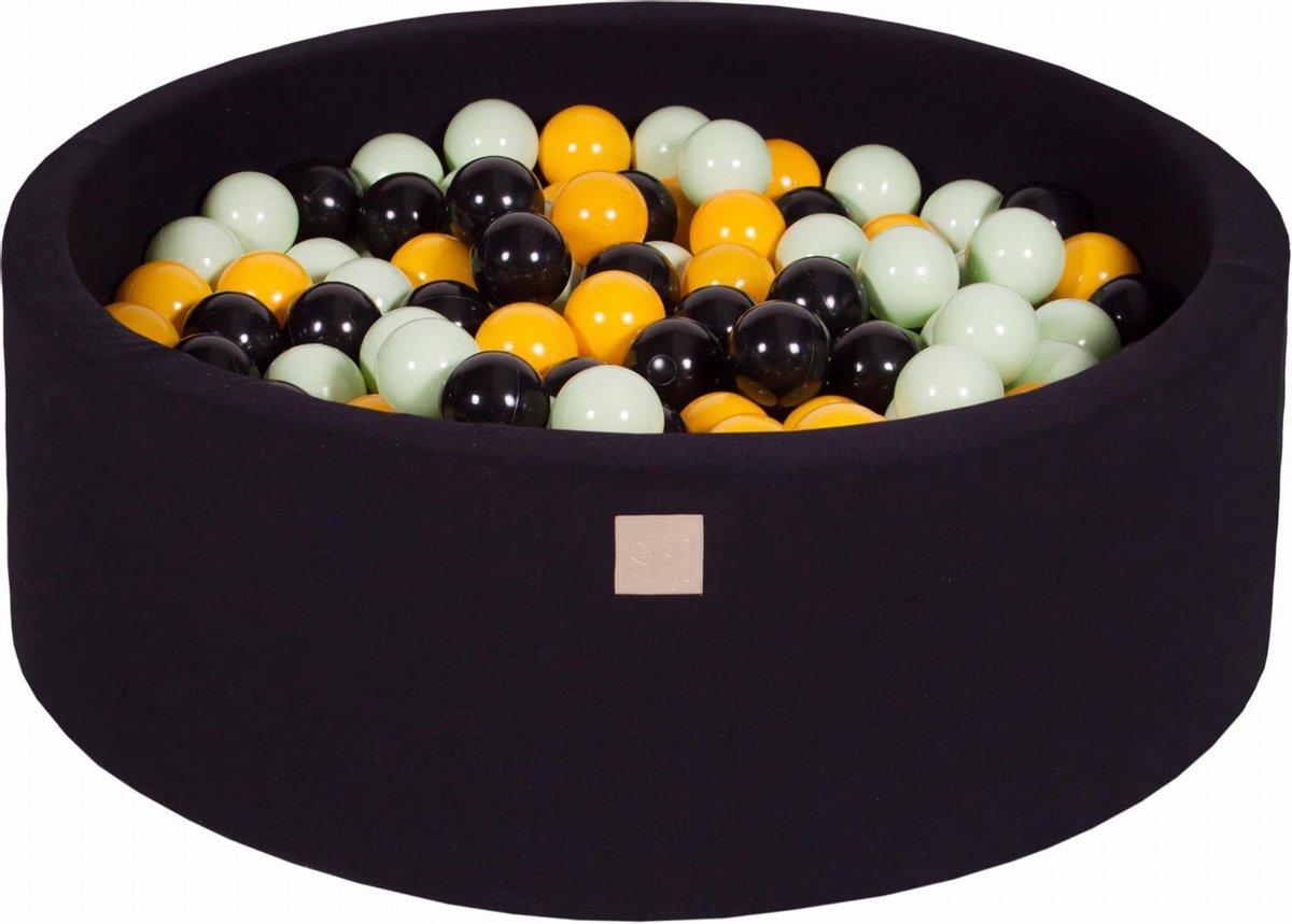 Ronde Ballenbak set incl 200 ballen 90x30cm - Zwart: Zwart, Geel, Licht Groen