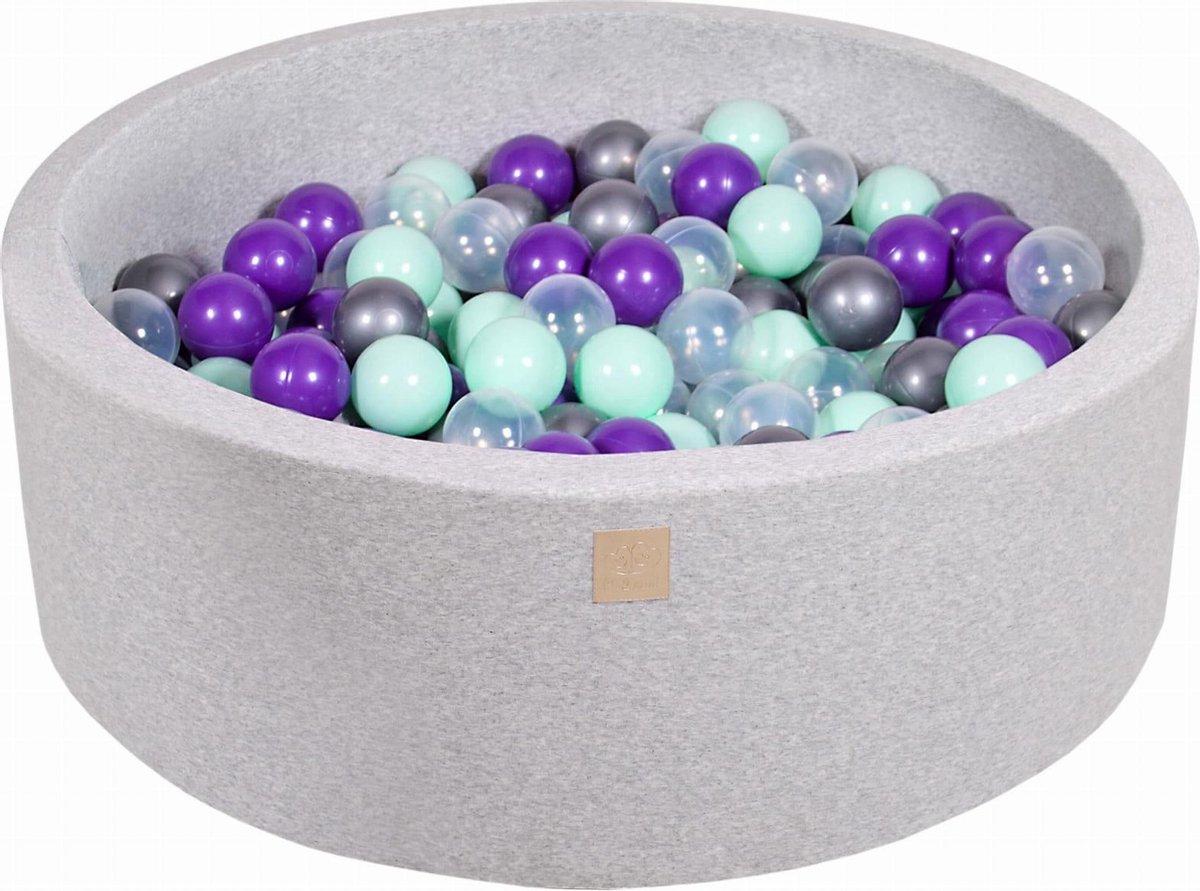 Ronde Ballenbak set incl 200 ballen 90x30cm - Licht Grijs: Mint, Transparant, Zilver, Violet