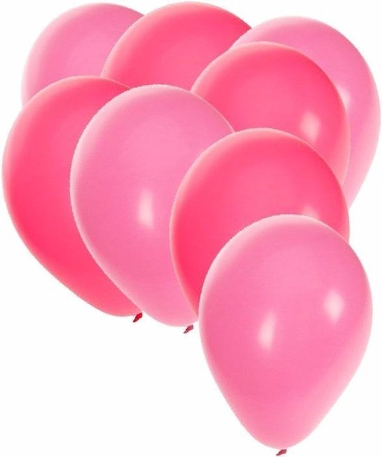 90x stuks party ballonnen - 27 cm -  roze / lichtroze - Feestartikelen/versiering