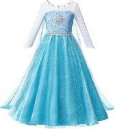 Prinses - Elsa jurk - Frozen -  Prinsessenjurk - Verkleedkleding - Blauw