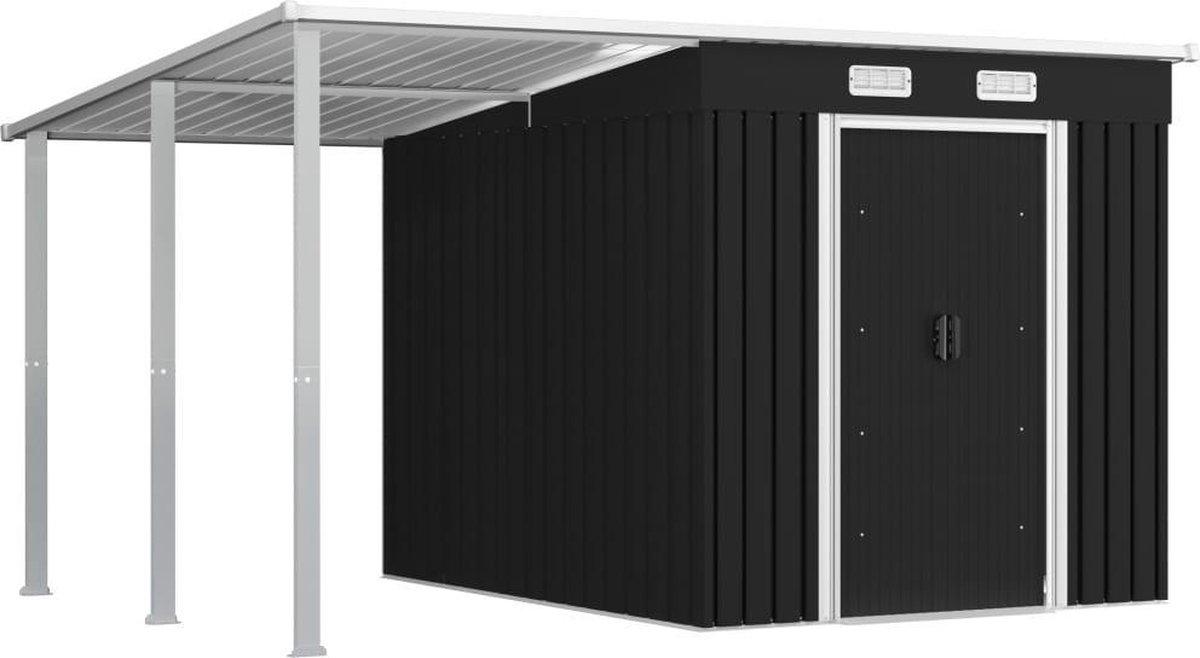VidaXL Tuinschuur met verlengd dak 346x236x181 cm staal antraciet online kopen