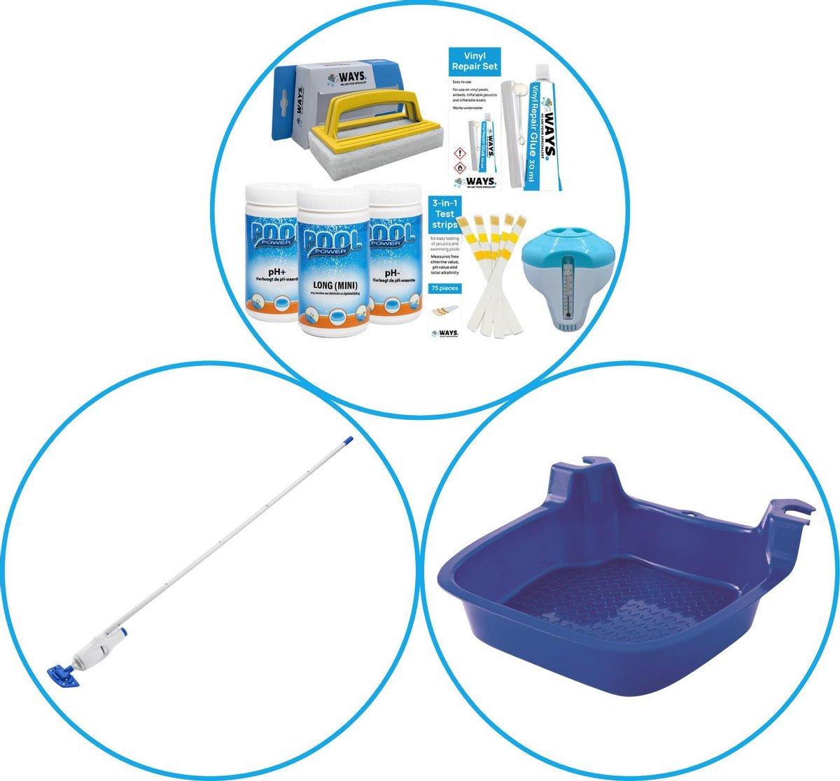 WAYS - Zwembad Accessoirepakket 3-delig - WAYS Onderhoudspakket & Zwembad stofzuiger & Voetenbad