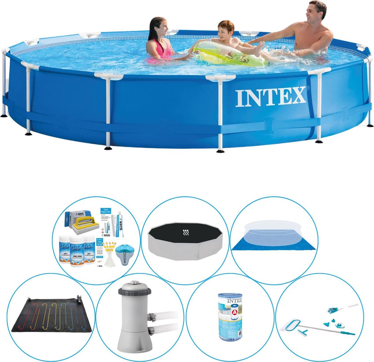 Intex Metal Frame Rond 366x76 cm - Alles in 1 Zwembad Set