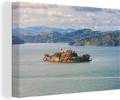 Alcatraz-eiland in de Amerikaanse baai San Francisco Canvas 120x80 cm - Foto print op Canvas schilderij (Wanddecoratie woonkamer / slaapkamer)