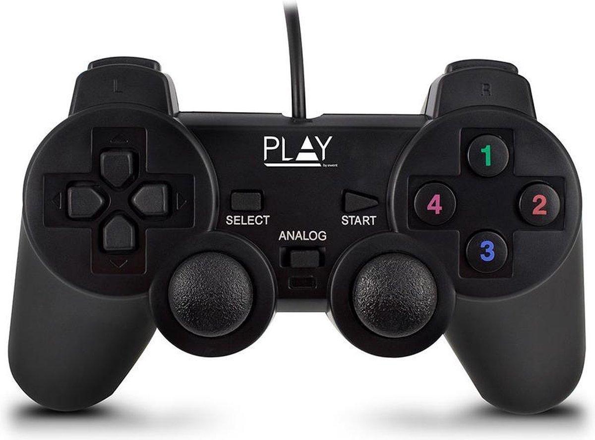 Play PL3330 game controller Gamepad PC Analoog/digitaal USB 2.0 Zwart