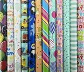 Assortiment luxe cadeaupapier inpakpapier voor kinderen CH1 - 200 x 70 cm - 10 rollen