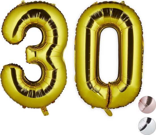 relaxdays folie ballon cijfer 30 - XXL cijferballon - getal folieballon - verjaardag deco goud