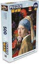 Puzzel 500 stukjes Oude meesters - EB - Meisje met de parel van oude meester Johannes Vermeer tegen een stilleven met bloemen puzzel 500 stukjes  - PuzzleWow heeft +100000 puzzels