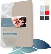 24-Bedding Duopak (2 stuks) Hoeslaken topper topdek Jersey elastaan - Taupe - 90x220 cm
