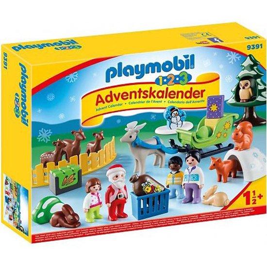 PLAYMOBIL 1.2.3 Adventskalender Kerstmis in het dierenbos - 9391