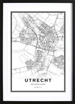 Utrecht Stadskaart Poster (21x29,7cm) - Wallified - Steden - Poster - Zwart Wit - Print - Amsterdam - Rotterdam - Utrecht - Den-Haag - Wall-Art - Woondecoratie - Kunst - Posters