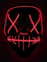 Elite - Rood lichtgevend led masker voor volwassenen - Maskers > LED maskers