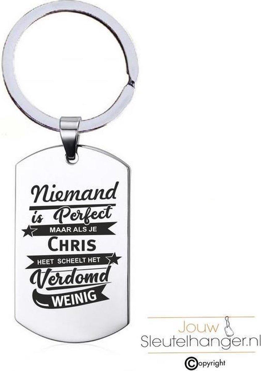 Niemand Is Perfect - Chris - RVS Sleutelhanger