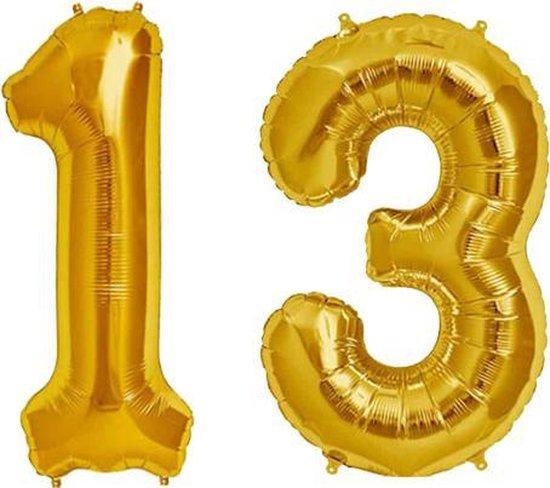 Cijfer 13 Goud Helium 86 cm Excl. Helium