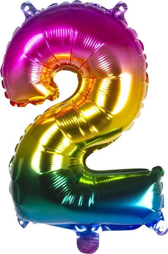 Boland Folieballon Cijfer 2 Latex Regenboog 36 Cm