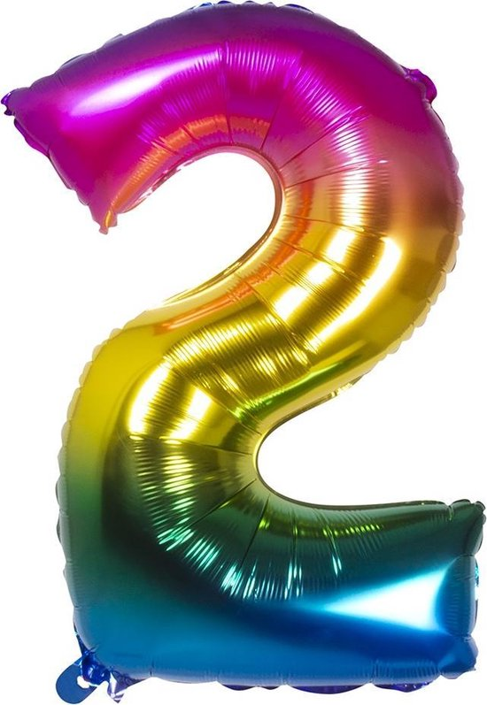 Boland Folieballon Cijfer 2 Latex Regenboog 86 Cm