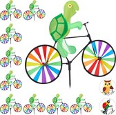 relaxdays 10 x windmolen schildpad - fiets - windspel - tuinsteker - tuin - kinderen
