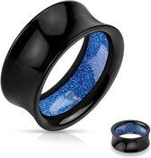 14 mm Double-flared tunnel zwart met blauwe glitters ©LMPiercings