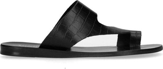 Sacha - Dames - Zwarte slippers met crocoprint - Maat 37