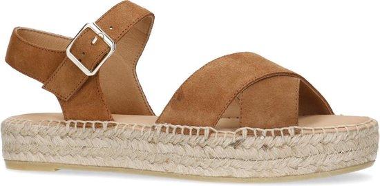   Manfield Dames Cognac sandalen met plateauzool