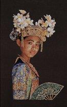 Thea Gouverneur - Borduurpakket met telpatroon - 948 - Voorgesorteerde DMC Garens - Balinese Danser (bruin) - Jobelan - 60 cm x 90 cm