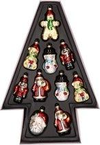 10x Kersthangers kerstfiguurtjes van glas 8 cm - Kerstdecoratie/kerstversiering - Kerstmannen/sneeuwpoppen/beer/notenkraker kerstballen